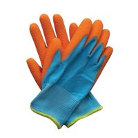 oranje blauw handschoenen kinder tuinier