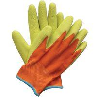 groen oranje handschoenen kinder tuinier